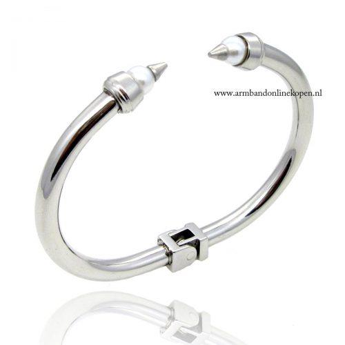 bangle armband staal parel spitse vormen
