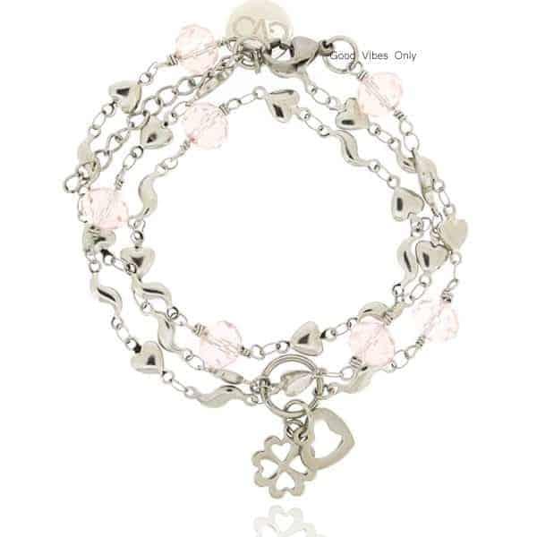 edelstaal armband en ketting met roze quartz steentjes