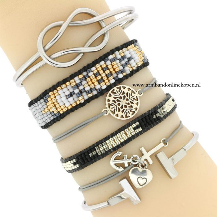 geloof hoop en liefde armbandje zilver grijs