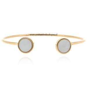 hippe armband staal parel uiteindes rose goud