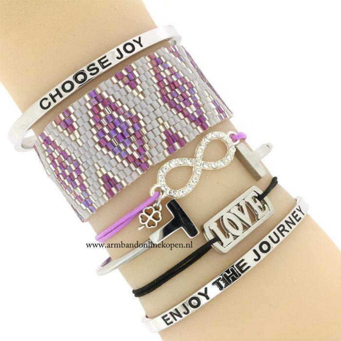 infinity armbandje zilver lavendel goedkoop kopen