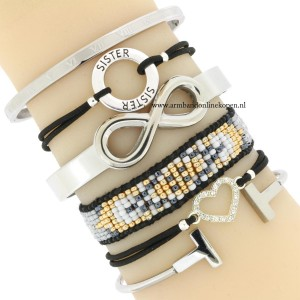 liefde voor je zusje armbandjes zilver zwart