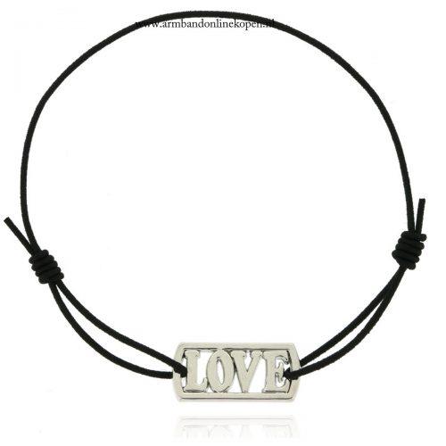 love armband edelstaal zwart elastiek