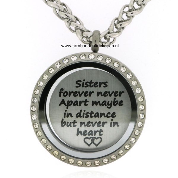 munt ketting hanger sisters forever never apart maybe in distance but never in heart