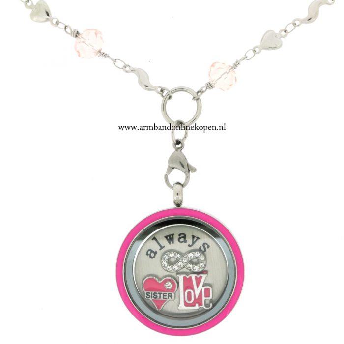 munt ketting roze quartz met hanger altijd liefde voor je zus