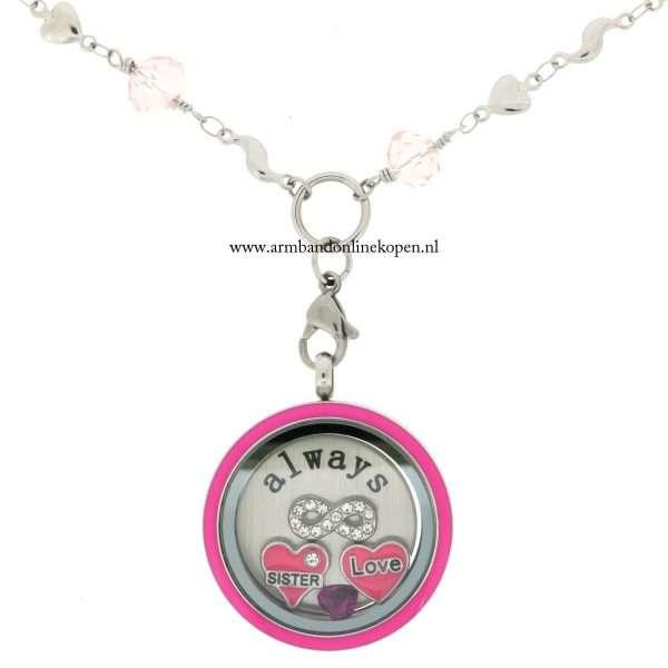munt ketting roze quartz met hanger liefde voor je zus