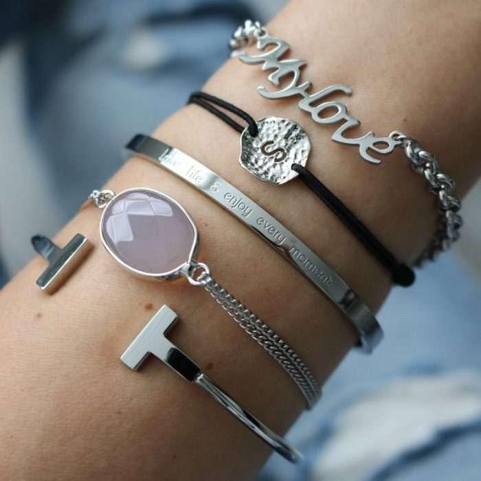 opal steen armbandje zilver letter armband