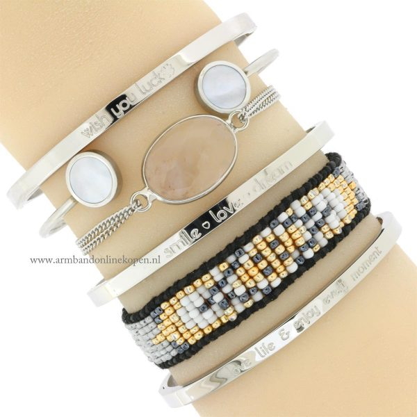 quote armbanden staal zilver armcandy bangles