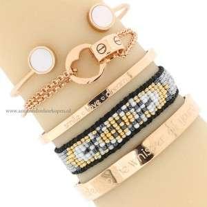 quote inspirerende armbanden rose goud smile love dream