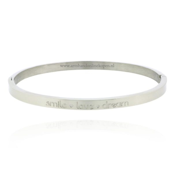rvs quote inspirerende armband smile love dream