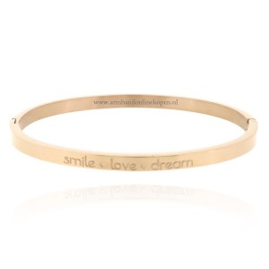 rvs quote inspirerende armband smile love dream rose