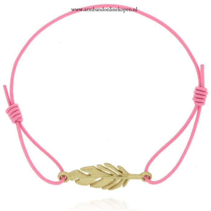 veer armbandje roze goud