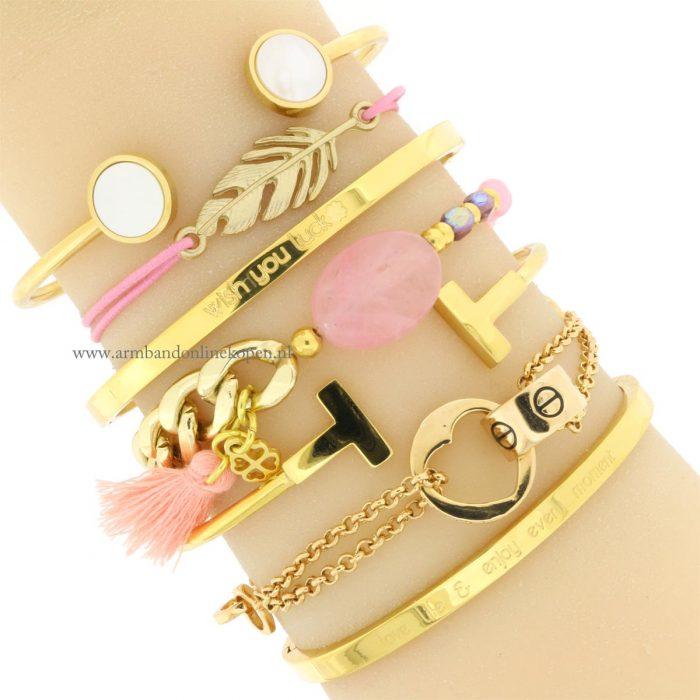 veer armbandje roze goud goedkoop kopen