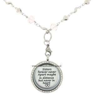 zussen munt hanger met ketting hartjes en roze quartz