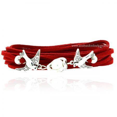 armbanden 2016 duifjes zilver rood