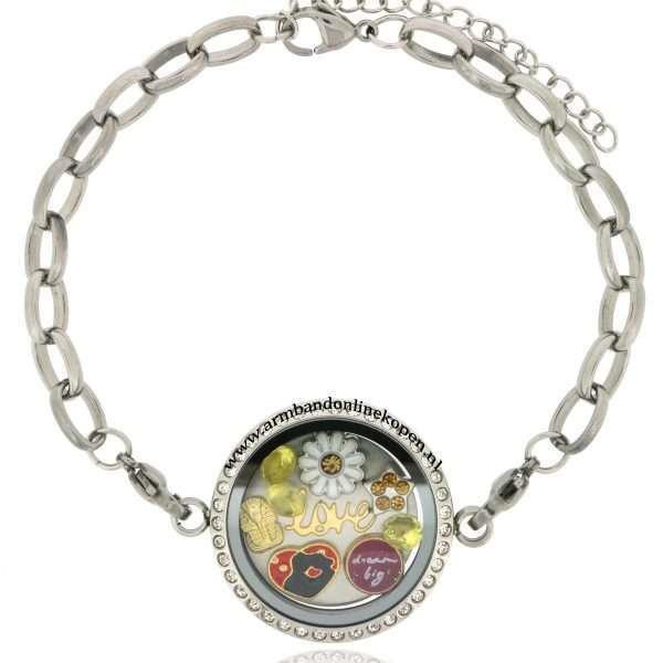 edelstaal armband met love munt goud zilver combinatie