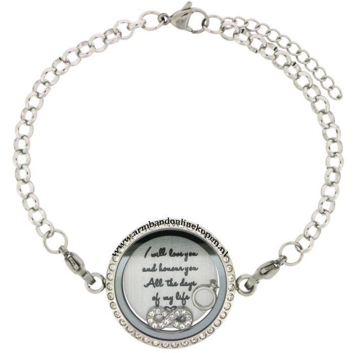 edelstaal armband met munt voor altijd en eeuwig