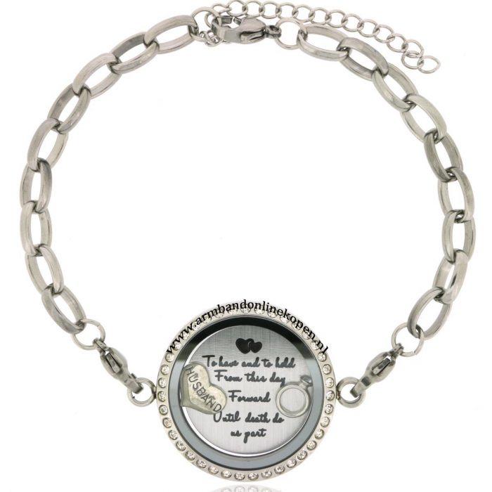 edelstaal armband zirkonoia steentjes met munt voor altijd en eeuwig