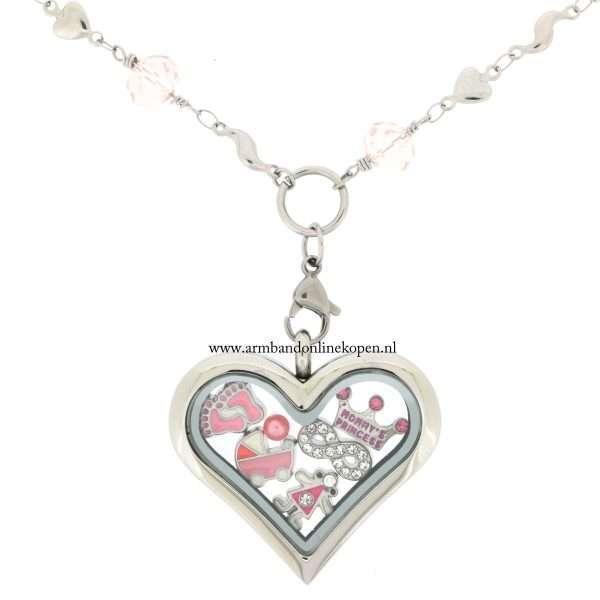 edelstaal munt hanger met bedels liefde voor je dochter