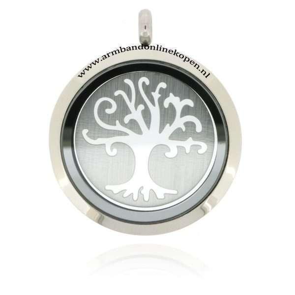 edelstaal munt hanger met levensboom munt