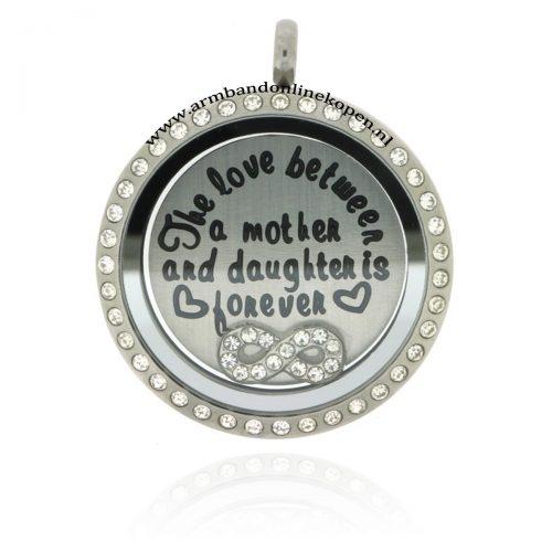 edelstaal munt hanger zirkonia steentjes met moeder dochter munt