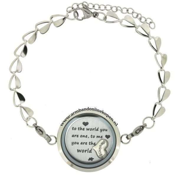 moeder dochter armband edelstaal met munt en bedel