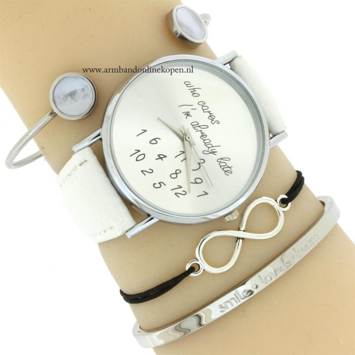 infinity armband zilver zwart 2016 quote bangle horloge