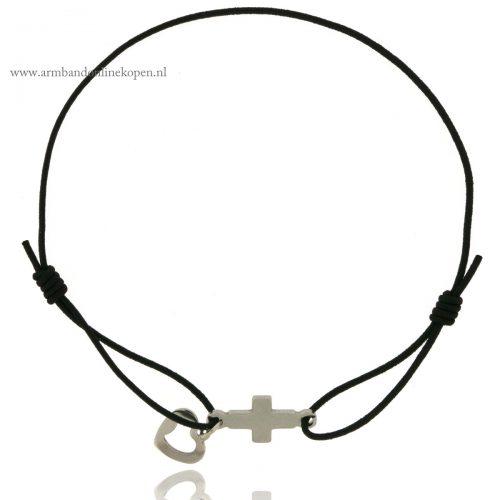 minimalistische armbandjes staal hartje kruis
