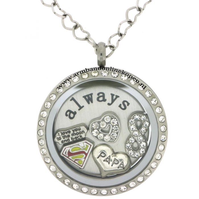 super dad I will always love you ketting met hanger of munt armband