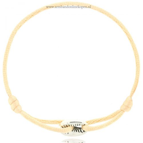 armband met schelp zilver light peach