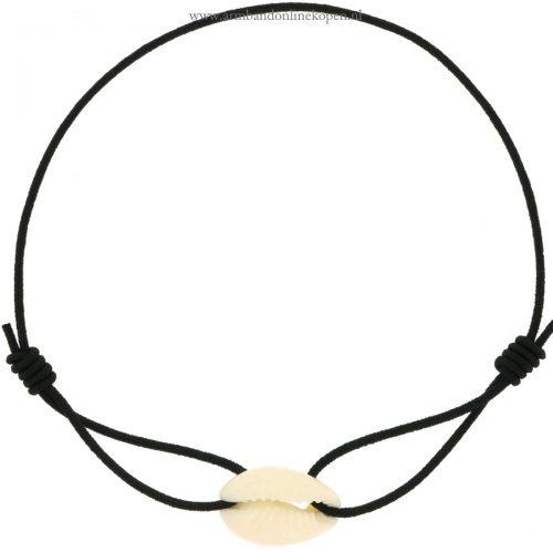 armband schelp wit zwart