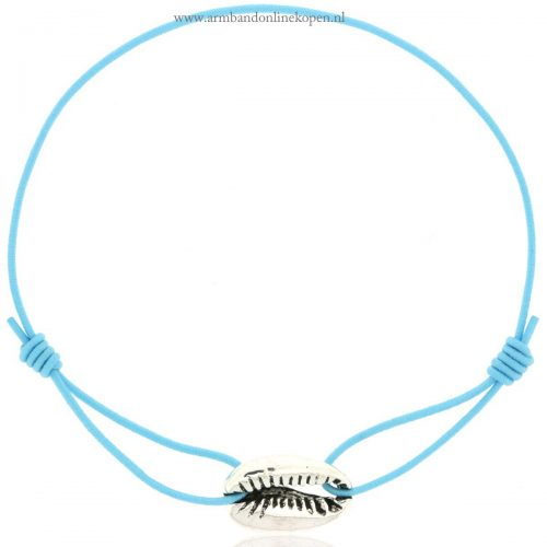 armband schelp zilver baby blue