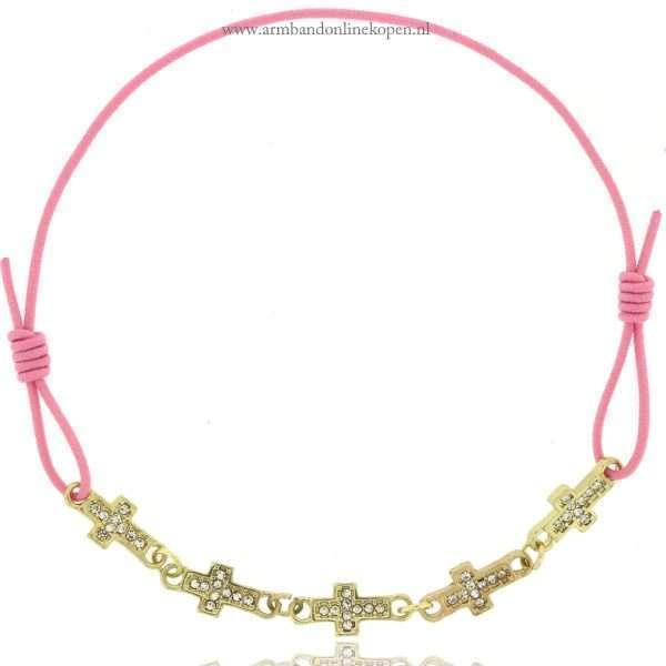 armbandje kruis goud roze goedkoop kopen