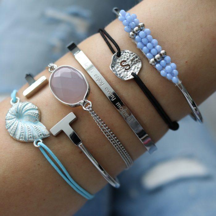 schelp armband zilver baby blue