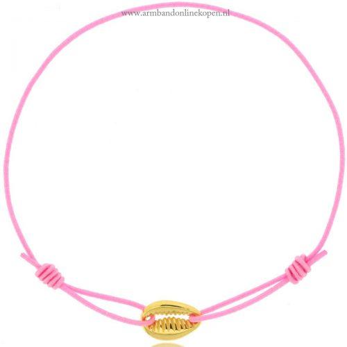 schelpje armbandje goud roze