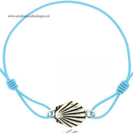 armbandje schelp zilver baby blue
