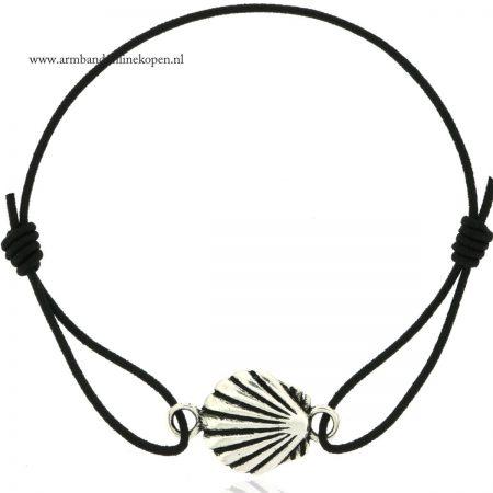 ibiza schelp armbandje zilver zwart