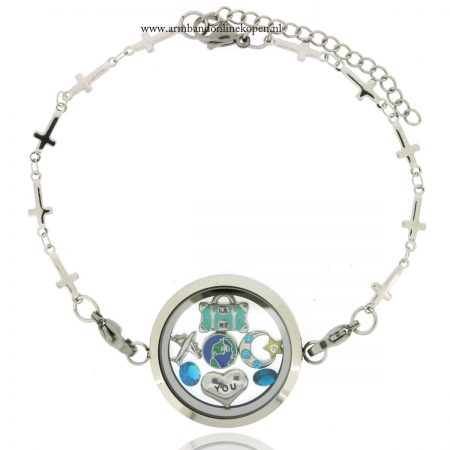 munt armband met bedels I want to travel the world with you