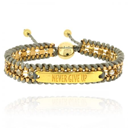 quote armband never give up goud grijs strass steentjes