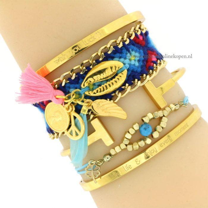 armband ibiza goud blauwe tinten