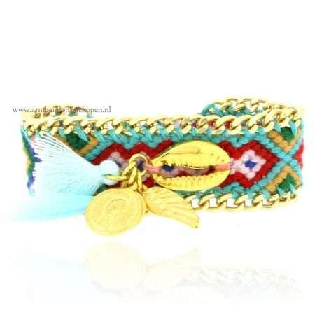 ibiza armband schelp goud munt veer peace
