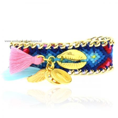 ibiza armband schelp goud muntje veer engelvleugel
