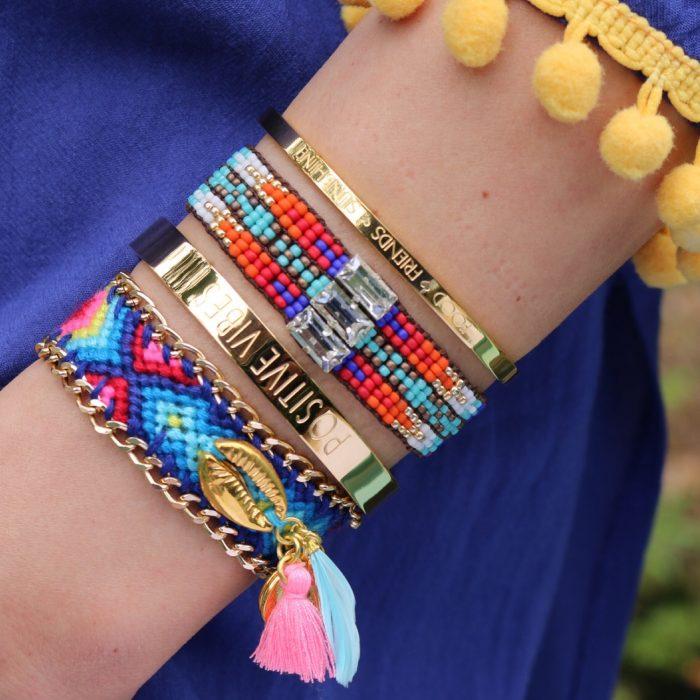 ibiza armband schelp goud quote bangles
