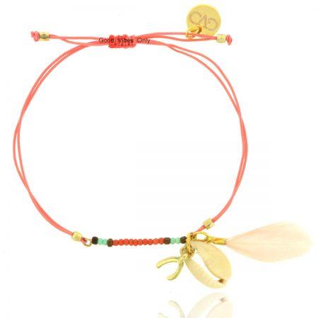 ibiza armbandje met schelp veer wishbone roze