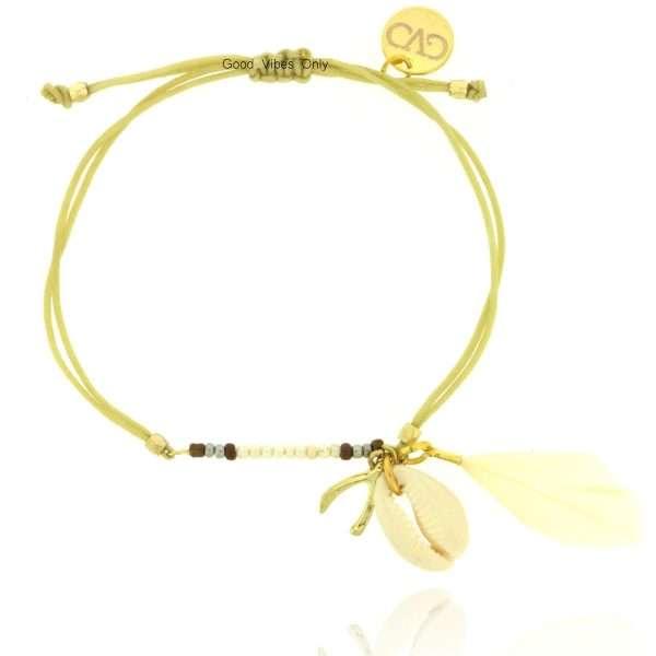 ibiza armbandje met schelp veer wishbone taupe