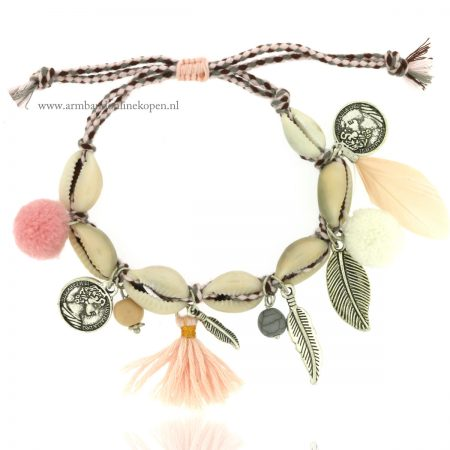 armband schelpen pastel kleuren braided