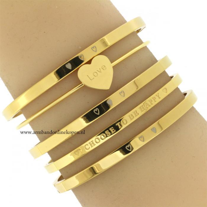 armbandjes set hartjes love staal choose to be happy quote armband