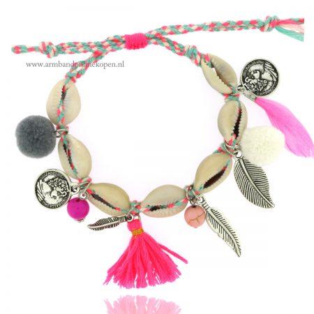 ibiza armband schelpen roze tinten