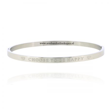 quote armband roestvrij staal choose to be happy zilver