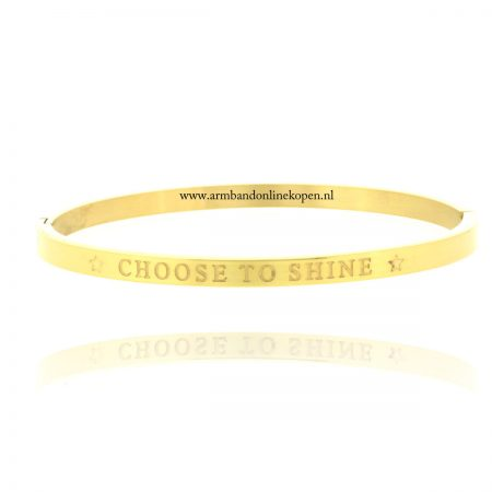 quote armband roestvrij staal choose to shine goud